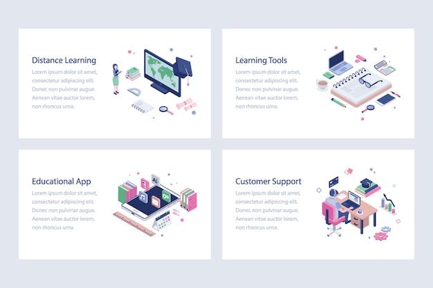 Illustrazioni di vettore di formazione online impostate