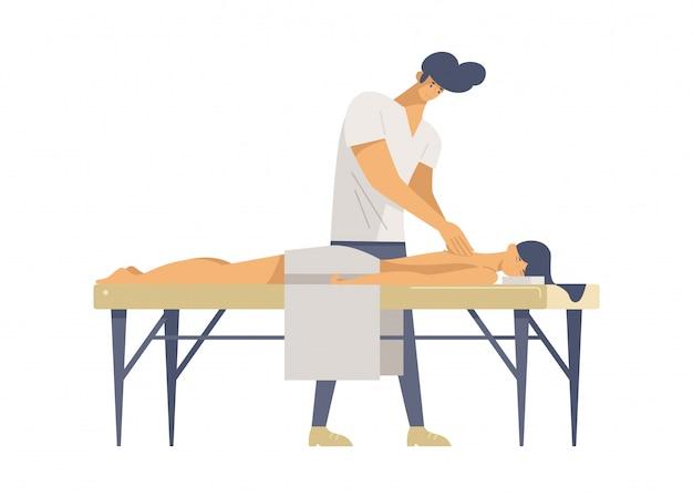 Illustrazioni di vettore piatto terapia di massaggio professionale
