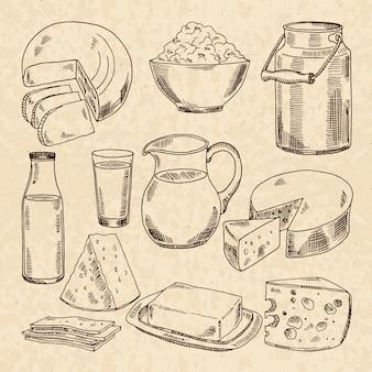 Illustrazioni disegnate a mano d'epoca di yogurt, formaggi e altri prodotti lattiero-caseari freschi
