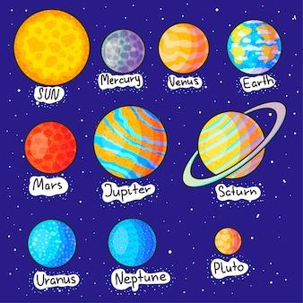 Illustrazioni disegnate a mano del fumetto dei pianeti del sistema solare messe