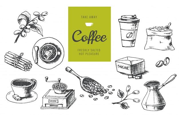 Illustrazioni disegnate a mano di caffè