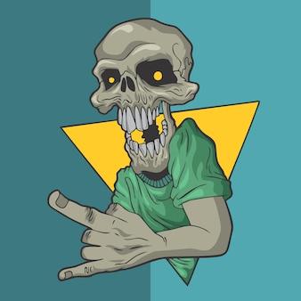 Illustrazioni disegnate a mano di progettazione di vettore di stile del cranio del rockin.