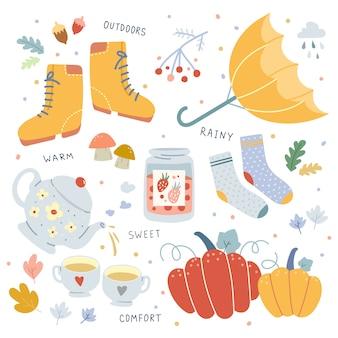 Illustrazioni disegnate a mano di vettore degli attributi stagionali di autunno.