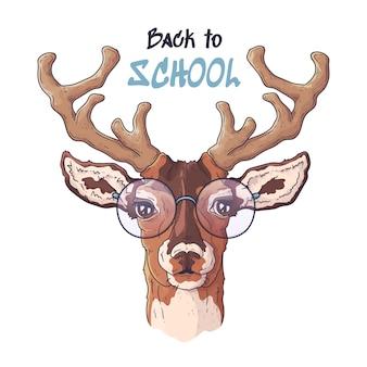 Illustrazioni disegnate a mano di vettore ritratto di cervo carino realistico in bicchieri.