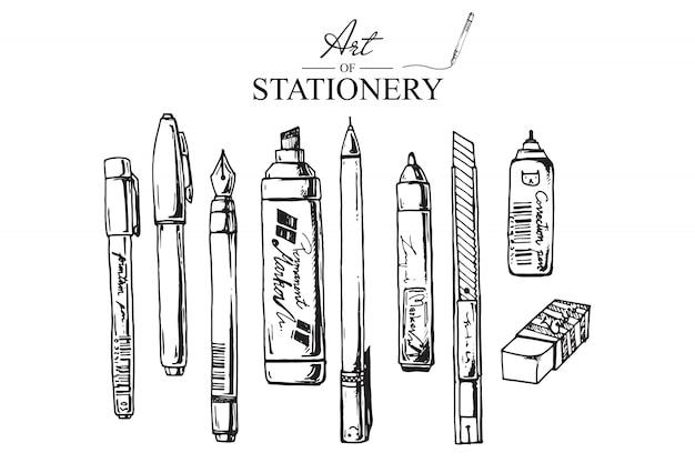 Illustrazioni disegnate a mano per la cancelleria. set di forniture scolastiche. vettore