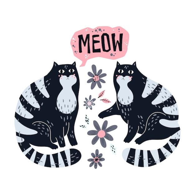 Illustrazioni disegnate a mano piatte vettoriali. gatti carini con fiori.