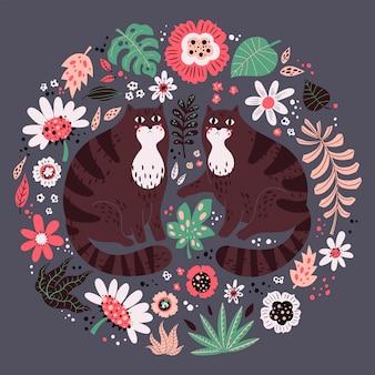 Illustrazioni disegnate a mano piatte vettoriali. gatti carini con piante e fiori.