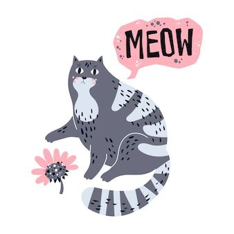 Illustrazioni disegnate a mano piatte vettoriali. simpatico gatto con fiore.