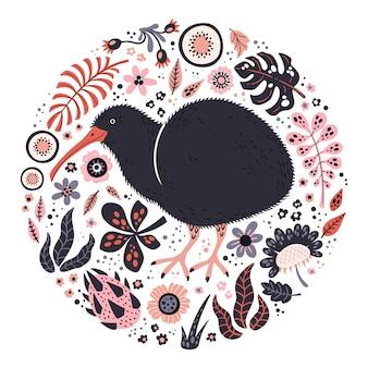 Illustrazioni disegnate a mano piatte vettoriali. uccello carino kiwi con piante e fiori.