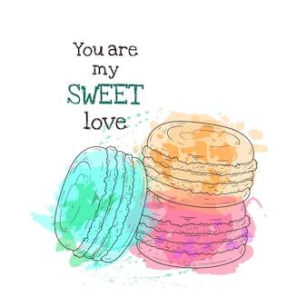 Illustrazioni disegnate a mano. realistico dessert francese - amaretti.