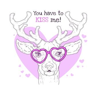 Illustrazioni disegnate a mano. ritratto di cervo carino realistico in bicchieri.