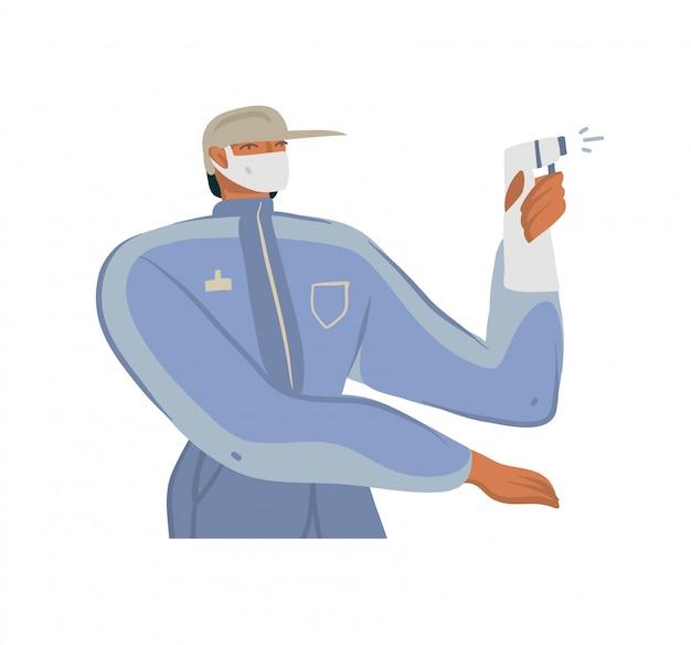 Illustrazioni disegnate a mano un uomo con un pacchetto di eco che lavora nella consegna di internet, ben protetto in una maschera facciale in sella a bici isolato su sfondo bianco