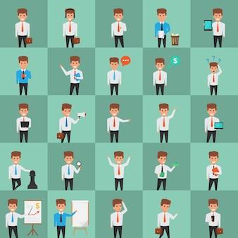 Illustrazioni disegnate creativamente del carattere dell'ufficio