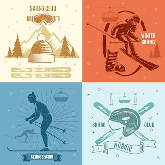 Illustrazioni in stile retrò di sci nordico