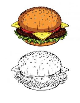 Illustrazioni in stile schizzo di un hamburger fresco con formaggio, pomodori, insalata e carne