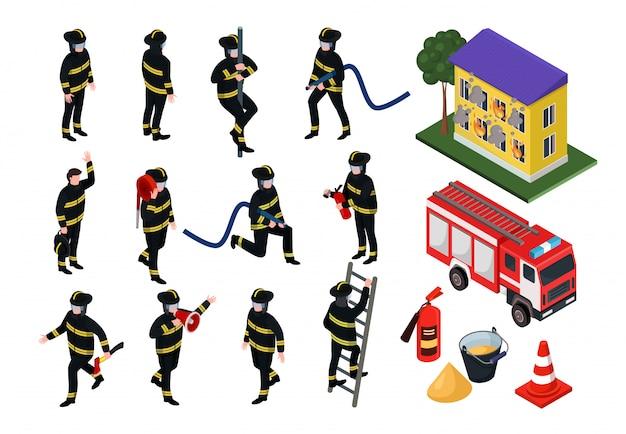 Illustrazioni isometriche del pompiere, la gente del fumetto 3d in uniforme con l'insieme dell'attrezzatura antincendio del tubo flessibile isolato su bianco
