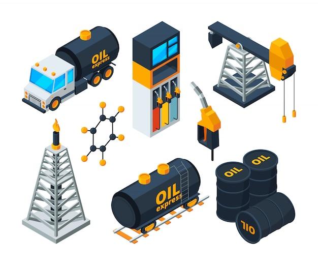 Illustrazioni isometriche di industria 3d di raffinazione di petrolio e gas