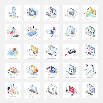 Illustrazioni isometriche di siti web e tecnologie correlate