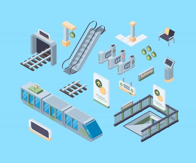 Illustrazioni isometriche di vettore 3d degli elementi di progettazione del sottopassaggio messe