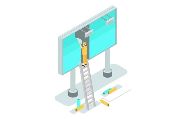 Illustrazioni isometriche pubblicizzano su cartelloni pubblicitari