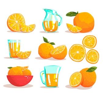 Illustrazioni luminose di stile fresco delle arance e del succo d'arancia