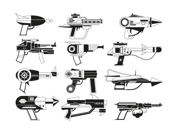 Illustrazioni monocromatiche di armi futuristiche per astronauti