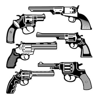 Illustrazioni monocromatiche di armi retrò