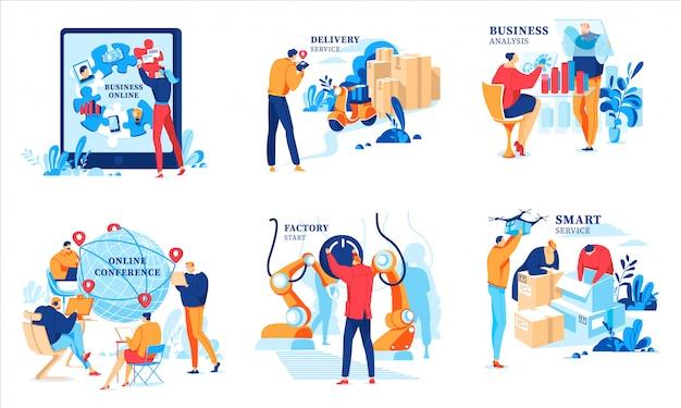 Illustrazioni online di affari, cartoni animati uomo d'affari che analizzano i dati finanziari, incontrandosi alla conferenza, iniziando fabbrica online