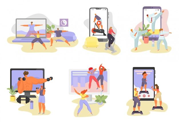 Illustrazioni online di esercitazione di sport, personaggi dei cartoni animati di donna uomo in attività sportiva sana utilizzando video lezioni app isolate su bianco