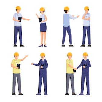 Illustrazioni piane dei lavoratori della società di costruzioni messe