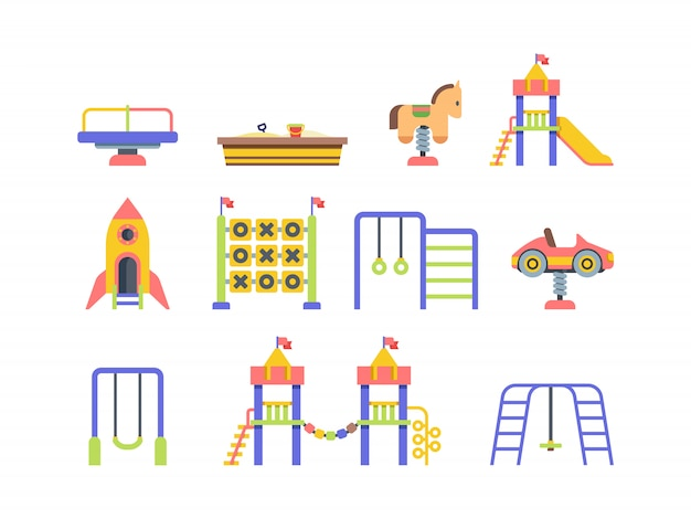 Illustrazioni piane di vettore degli oggetti del campo da giuoco del bambino messe