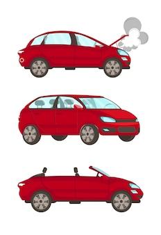 Illustrazioni piane di vettore del fumetto dell'automobile rotta messe