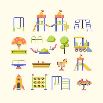 Illustrazioni piane di vettore dell'attrezzatura del campo da giuoco del bambino messe