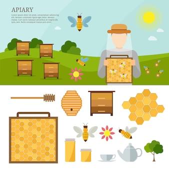 Illustrazioni piane di vettore di apiario