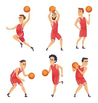 Illustrazioni sportive set di personaggi della squadra di basket