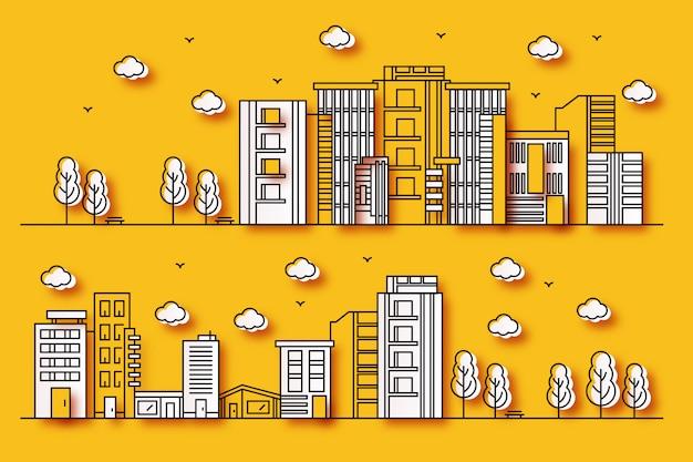 Illustrazioni urbane con varie forme di edifici in stile carta con alberi