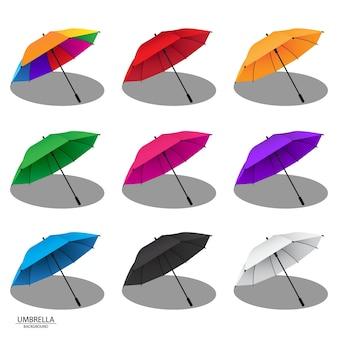 Illustrazioni variopinte di vettore di progettazione dell'ombrello della pioggia