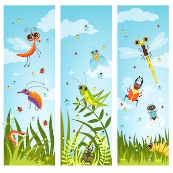 Illustrazioni verticali di insetti dei cartoni animati. insetto nel vettore verde della natura, della farfalla e della libellula