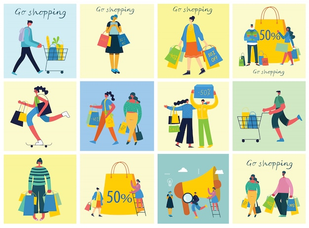 Illustrazioni vettoriali concetto di shopping con persone diverse per lo sviluppo di siti web e siti web mobili nella progettazione piana