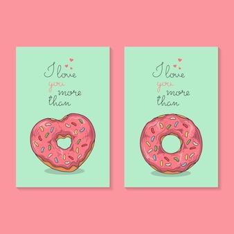 Illustrazioni vettoriali. congratulazioni per san valentino. carte con ciambelle.