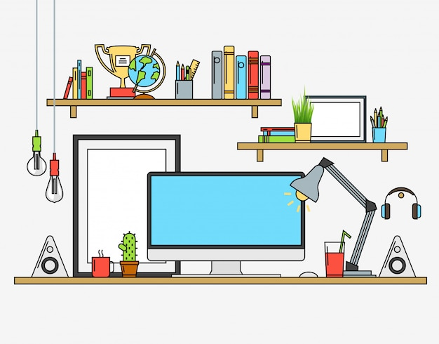 Illustrazioni vettoriali di area di lavoro moderna