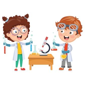 Illustrazioni vettoriali di bambini che hanno lezione di chimica