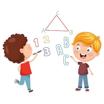 Illustrazioni vettoriali di bambini che scrivono