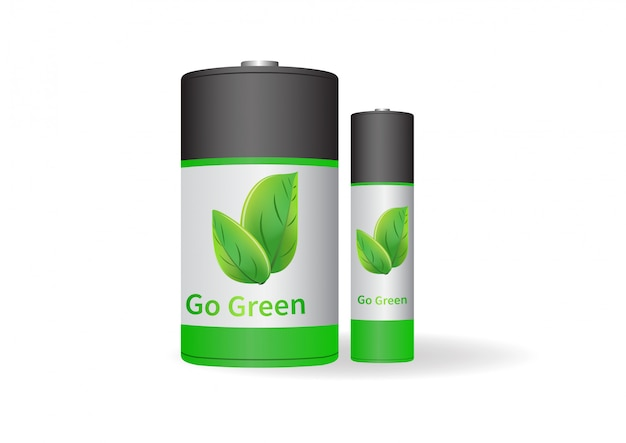 Illustrazioni vettoriali di batteria go green.