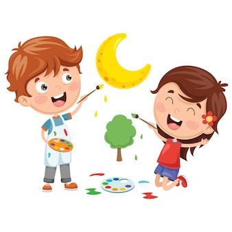 Illustrazioni vettoriali di pittura per bambini