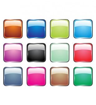 Illustrazioni vettoriali di pulsanti di vetro lucido per icone.