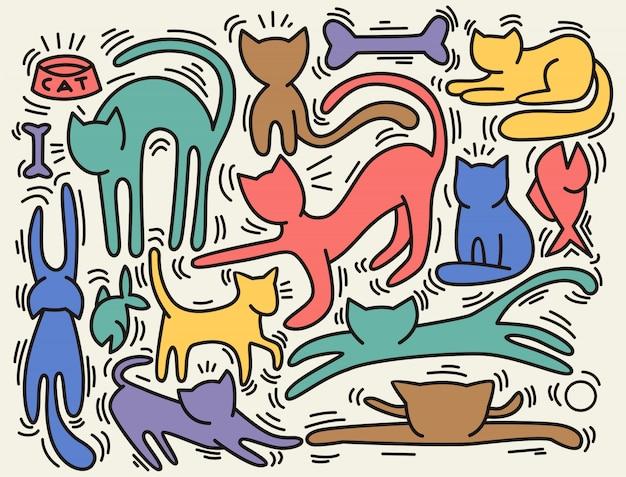 Illustrazioni vettoriali disegnati a mano di personaggi di gatti.