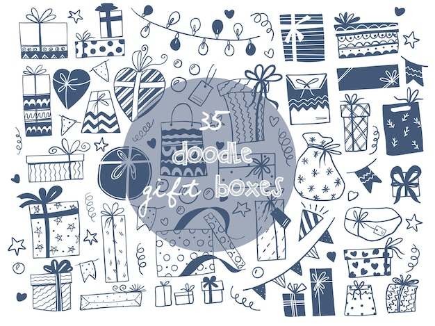Illustrazioni vettoriali disegnati a mano di scatole regalo. stile schizzo scarabocchio