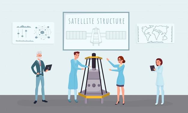 Illustrazioni vettoriali piatte di costruzione satellitare spaziale