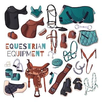 Illustrazioni vettoriali sul tema dell'attrezzatura equestre.